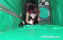 Redhead having fun on gloryhole in public restroom