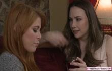 Busty babe fingering her redhead lesbian bestfriend
