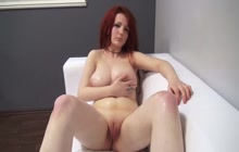 Red haired bitch getting fucked on a casting