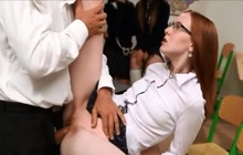 Skinny Schoolgirl Makes Guy Cum Twice